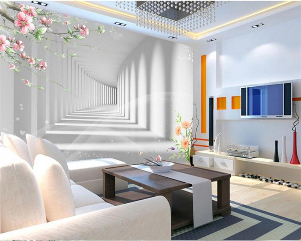 Beibehang 3d Fashion Flower Promenade 3d Extension Space Photo ...
