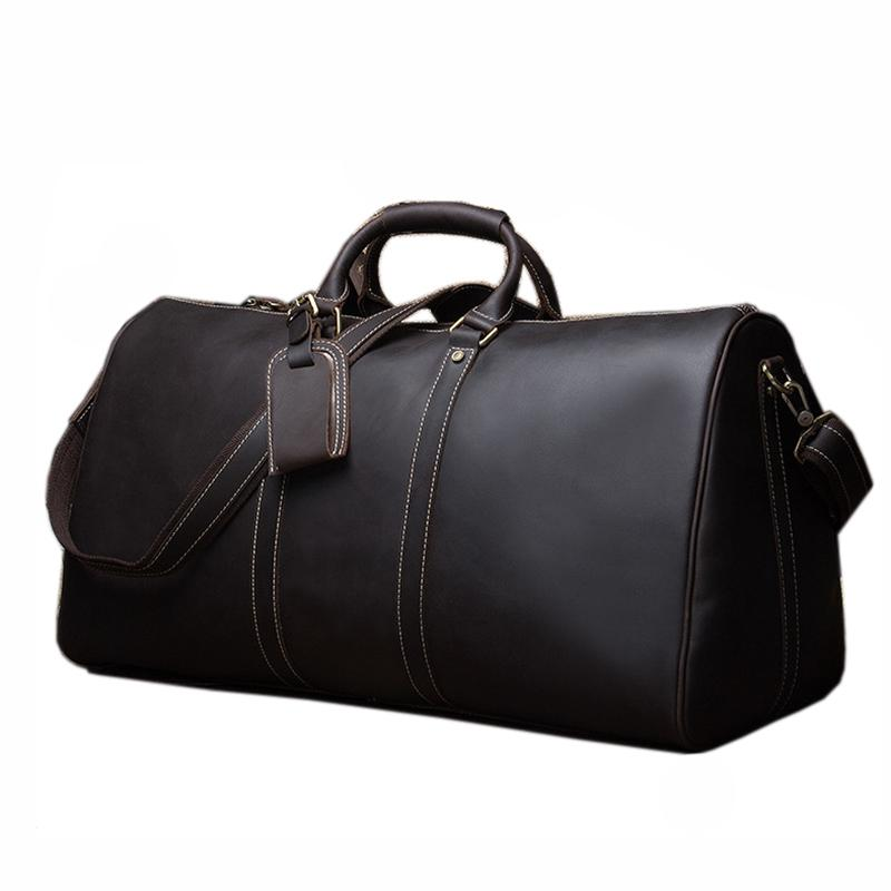 eda7552d810d Fashion Genuine Leather Travel Bag Men Large Carry On Luggage   Travel Bag  Men Leather Duffle Weekend Big Tote Overnigh Travel Bags For Women Mens  Duffle ...
