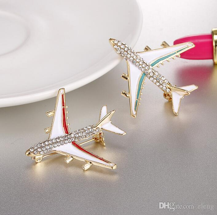 2018 Europe and the United States Cute girl Drops of oil plane Brooch brooches rhinestone Clothing accessories Pins Party Prom Women pin 37