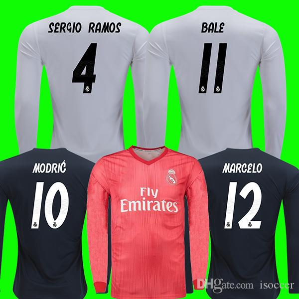 f5792b517e3 2019 Long Sleeve Jerseys Real Madrid 18 19 Soccer Jersey ASENSIO VINICIUS  JR Football Shirt BALE RAMOS KROOS BENZEMA Camiseta 2018 2019 Maillot From  Isoccer ...