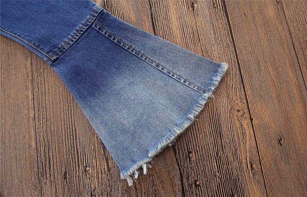 MUQGEW 2018 HOT Fashion for girls Pants Jeans boys fashion Children Infant kid Girls Vintage Splice Bell-bottoms Denim Trousers