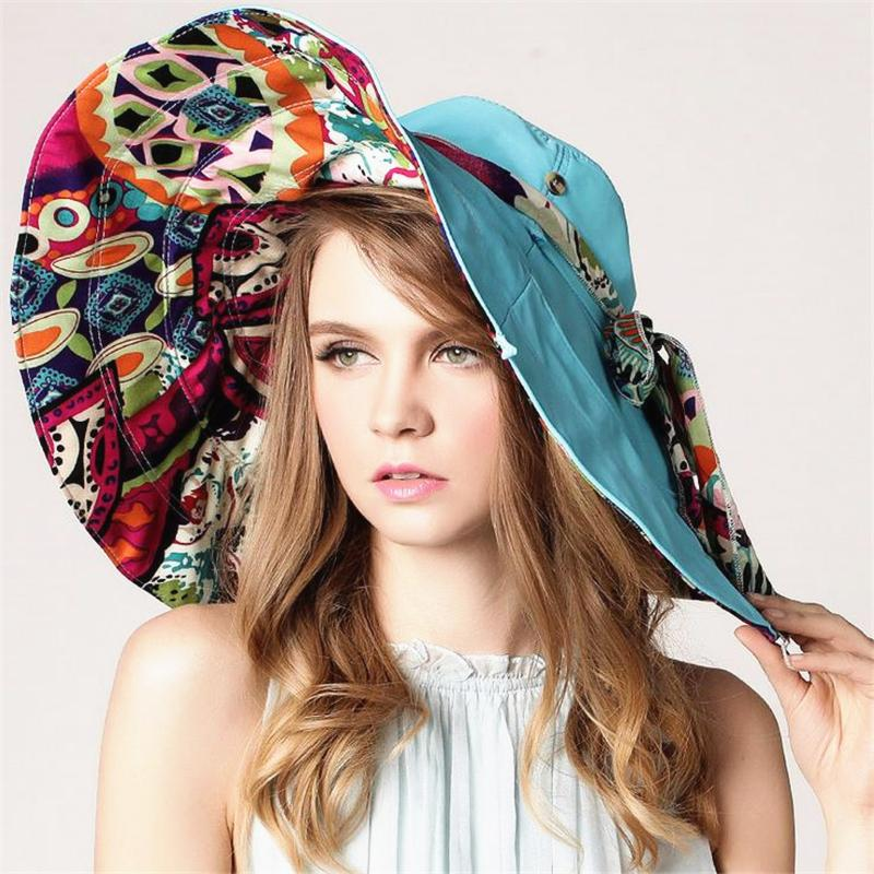 DoreenBow Fashion Summer Women Colourful Flowers Pieghevole Beach Sun Hat Cotone Casual Beach Cap Girls Vacation Tour Hat, 1 pezzo