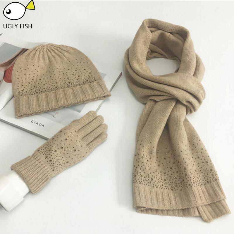 new style pretty cheap clearance sale ensemble écharpe écharpe, ensemble de gants de bonnet hiver et écharpe  femme avec diamant