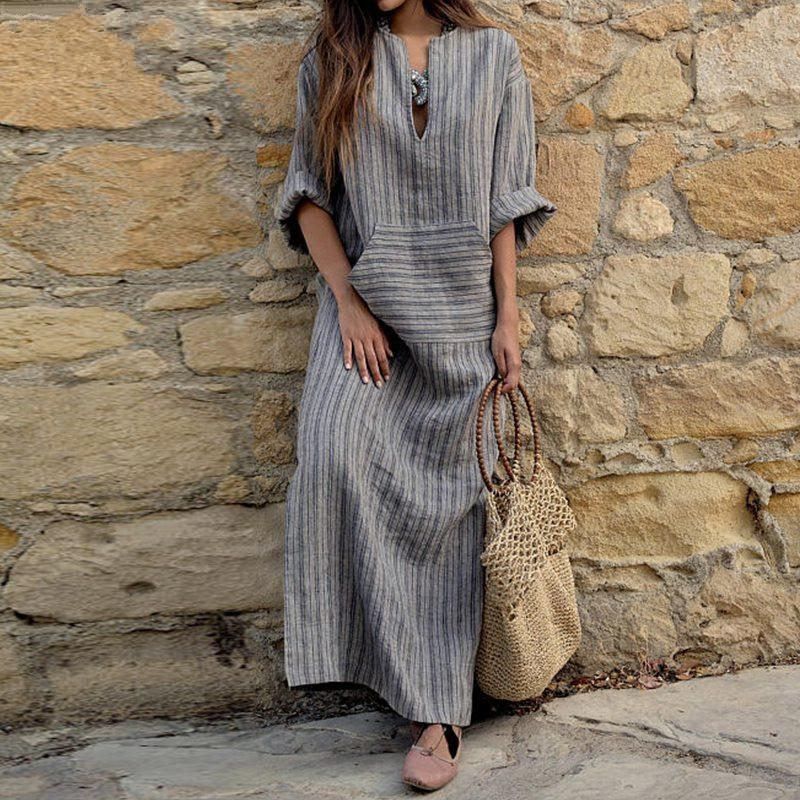 3a2c1041d171 2018 Autumn Women Striped Dress Sexy V Neck Long Sleeve Maxi Long Dresses  Vintage Casual Loose Plus Size Vestidos Discount Dresses Black Dresses For  Women ...