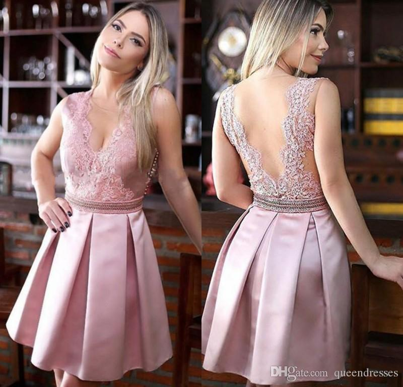133f6330a01 Latest Pink Lace Short Homecoming Dresses V Neck A Line Satin Mini  Graduation Cocktail Party Dresses Sweet 16 Evening Gowns Custom Made  Chiffon Homecoming ...