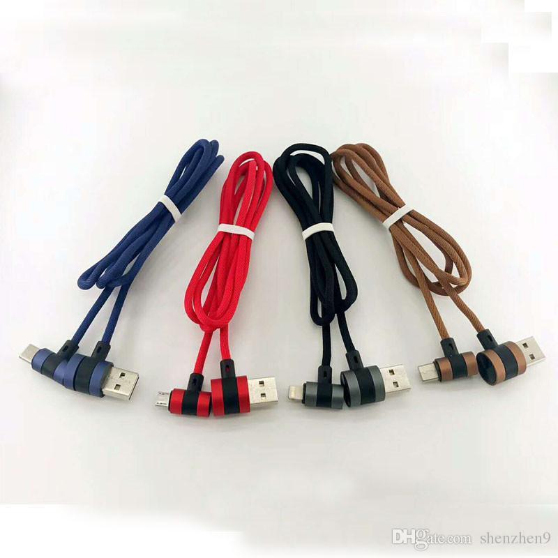 Угол 90 градусов 2.1 A быстрое зарядное устройство L изгиб слайд дизайн плетеный кабель для micro usb samsung LG huawei CAB240