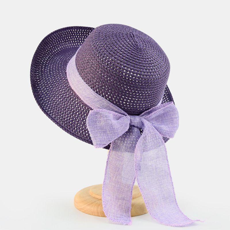 8d0ad6e82d63f7 Purple Summer Sun Hat With Bowknot Women Wide Brim Elegant Beach Hat  Bohemia Lady Straw Hats Ladies Beach Shades Cap Beige Pink Rain Hat Hats In  The Belfry ...