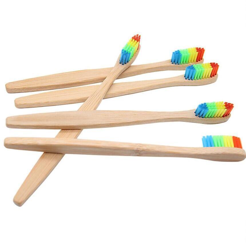 Doğal Bambu Diş Fırçası Renkli Bambu Kömür Diş Fırçası Düşük Karbon Bambu Naylon Ahşap Saplı Yumuşak Diş Fırçası Taşınabilir Fırça