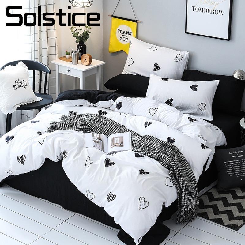 Superb Solstice Home Textile Heart White Duvet Cover Black Bed Sheet Pillowcase  Girl Kid Adult Boy Bedding Set King Queen Full Bedlinen Quilt Bedding Sets  Cheap ...