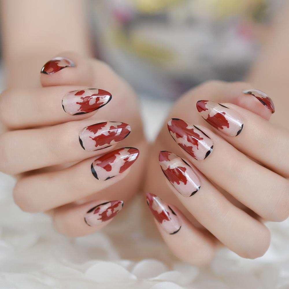 Acquista Almond Stiletto French Fake Nails Chiaro Bianco Rosso Nero