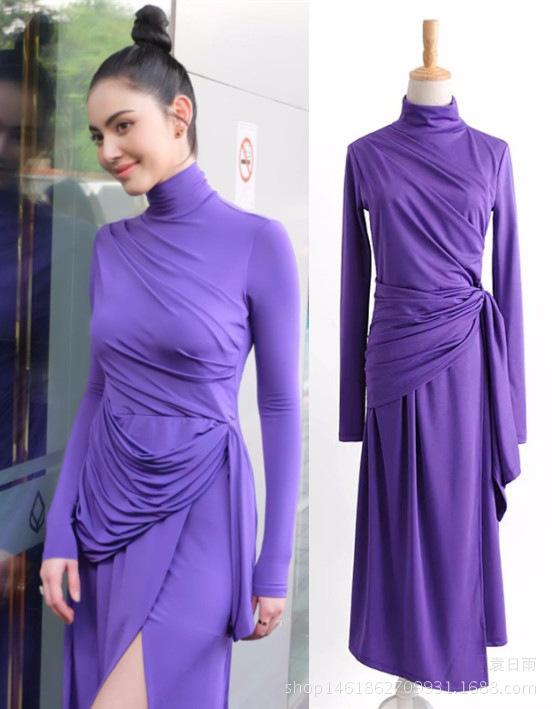ffe6fc6a9ce  To Gladself  Women s 2018 Spring Fashion Casual Vestidos Turtleneck  Irregular Overlay Long Sleeve Purple Midi Dress for Women