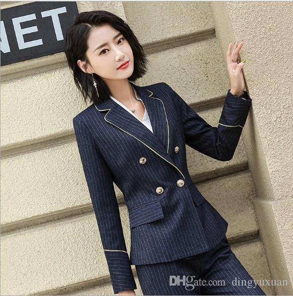 1231ee18c79c90 Office Lady Two Pieces Set bleu marine rayé pantalons costumes pour femmes  Blazer croisé pantalons / jupes dames