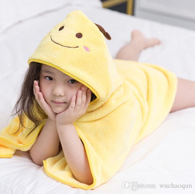 90 * 90 cm 10 renkler Çocuk Hayvan Bornoz Toddler Kız Erkek Karikatür Desen Havlu Kapşonlu Banyo Havlusu Terry Wrap