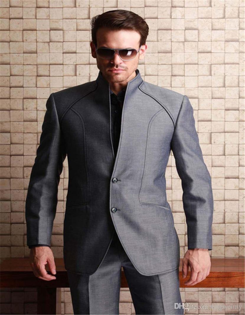 3143c30390bd Acquista Fantastico Design Grigio Uomo Abiti 2018 Tough Guy Style Cool  Groomsmen Best Man Smoking Weding Uomo Abiti Blazer Con Pantaloni A  85.8  Dal ...