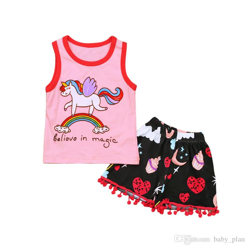 022422d5f24 2019 New Baby Girls Horse Print Clothes Set Kids Cartoon Sleeveless Vest T  Shirt Rainbow Shorts Tassel Pants Cotton Summer Outfit Suit 2018 From  Baby plan