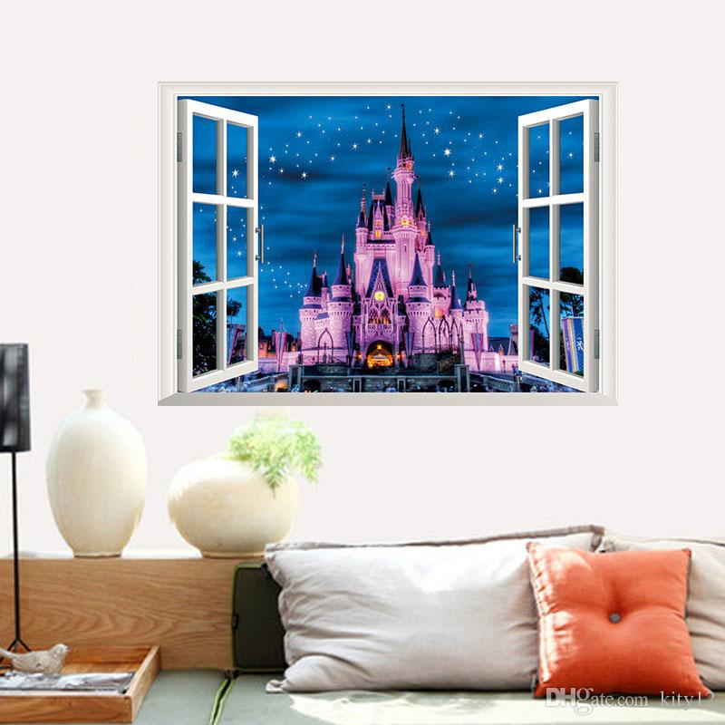 Hot sale Newest 3D Window Ancient Princess Castle home decals wall sticker for kids room girls bedroom mural poster