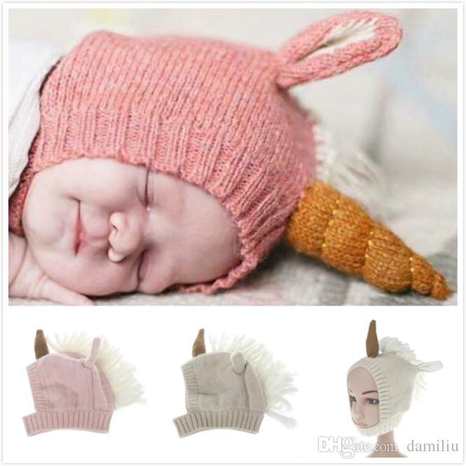 Großhandel Baby Warme Süße Weiche Unicorn Hut Kinder Strickmütze ...