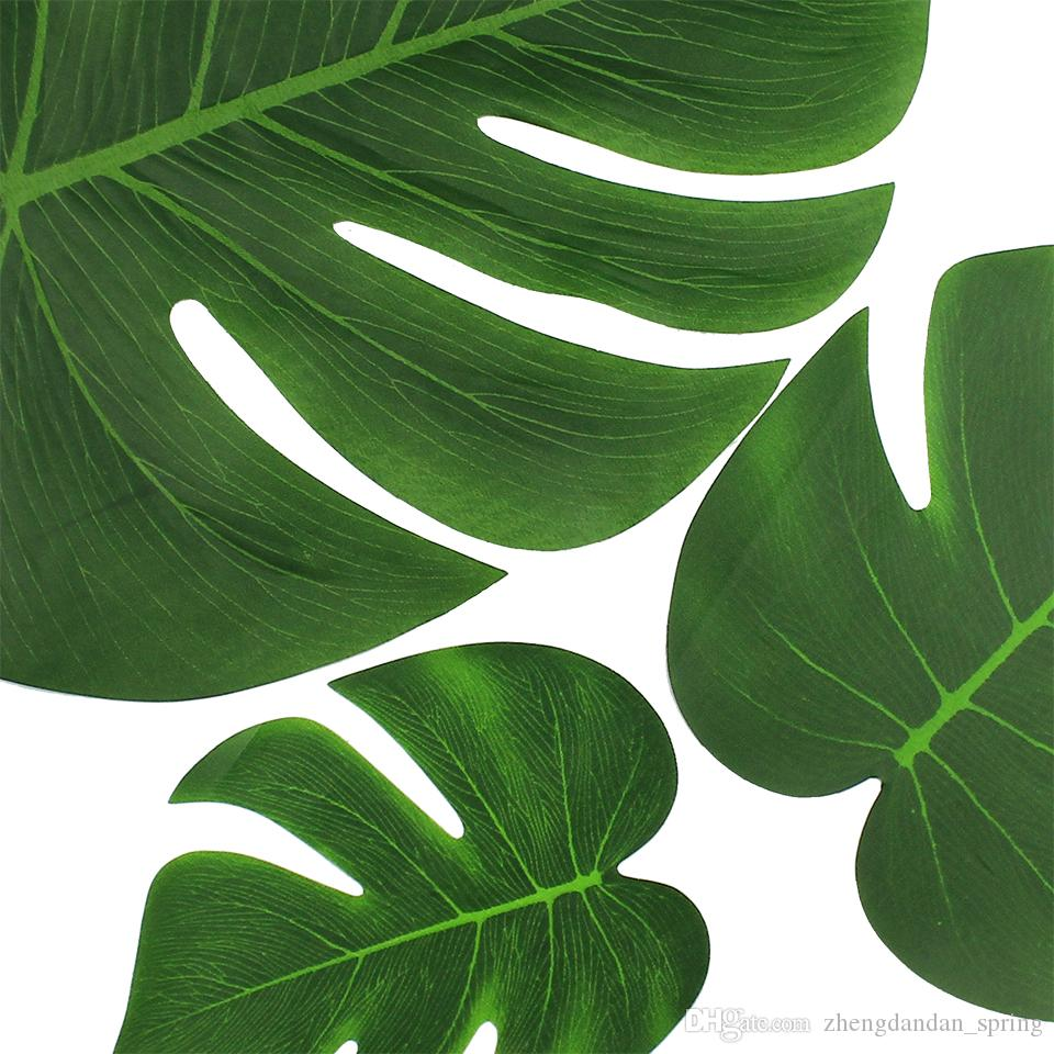 Palm Leaves Artificial Turtle Leaf For DIY tropical Hawaiian Theme Party Home Garden Wedding decoration 20*17cm