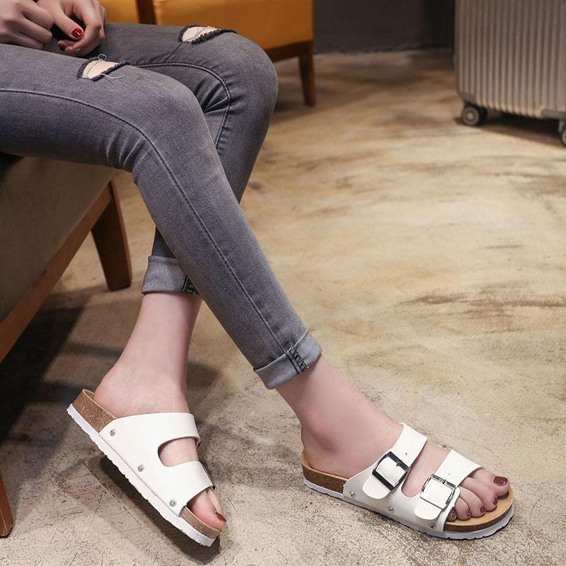 dd18cc88491e New Fashion Brand Men S Flat Sandals Cheap Women Casual Shoes Male Double  Buckle Summer Beach Top Quality PU Leather Slippers Heels Gladiator Sandals  From ...