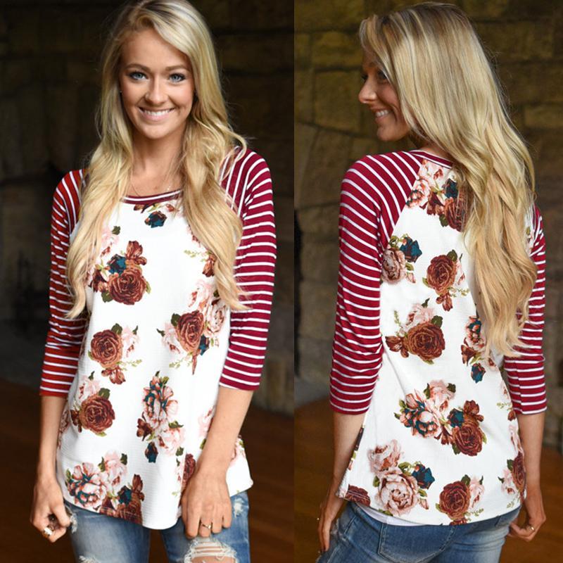 Großhandel Beiläufiges Mit Blumen Gestreiftes Polyester T Shirt ...
