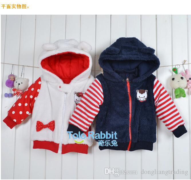 8770d90b3b5 Casual Cartoon Baby Coat Boys Girls Coral Fleece Stripped Outerwear Coats  2018 Hot Sale To Infant Hooded White Clothing Toddler Girl Coats Winter  Puffer ...