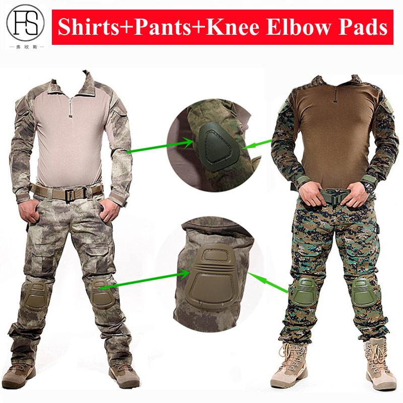 Uniform Army Combat Shirt Tactical Hunting Clothes Camouflage Suit Woodland Paintball Frog Set Sniper With Pads