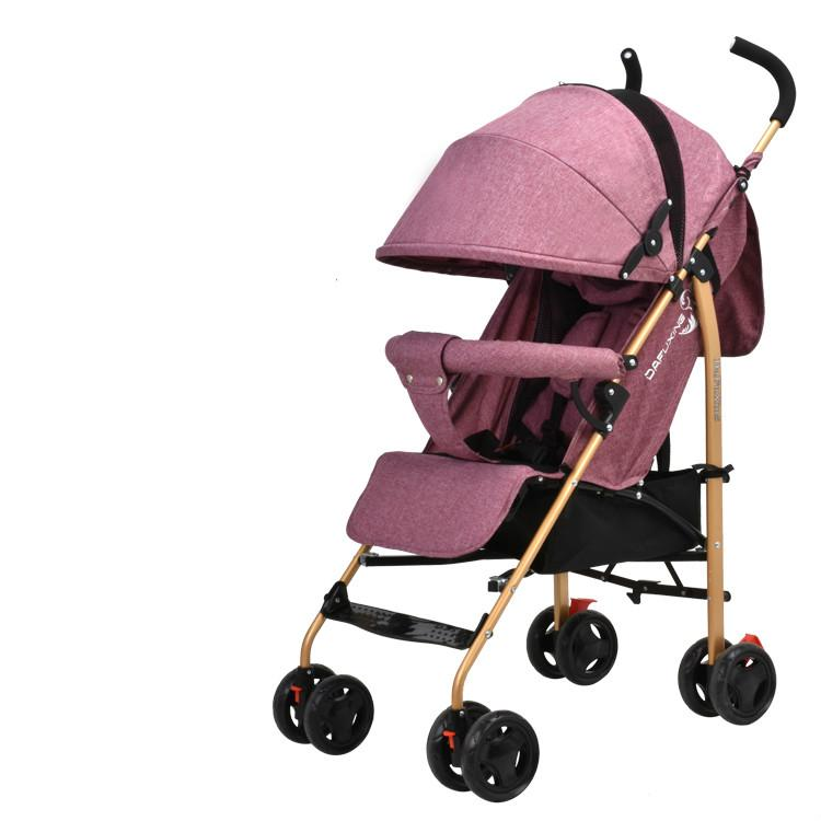 Four Seasons Mini Portable Baby Strolly Carbon Steel Material Foldable Infant Carriage With Sunshade On The Plane For 0-3T Baby