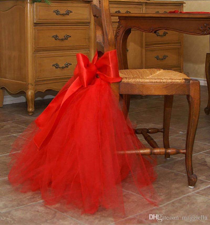 Bow-knot Tulle Chair Skirt DIY Tutu Tableware Skirts for Wedding Birthday Party Decoration Baby Shower Decorations 45*45cm