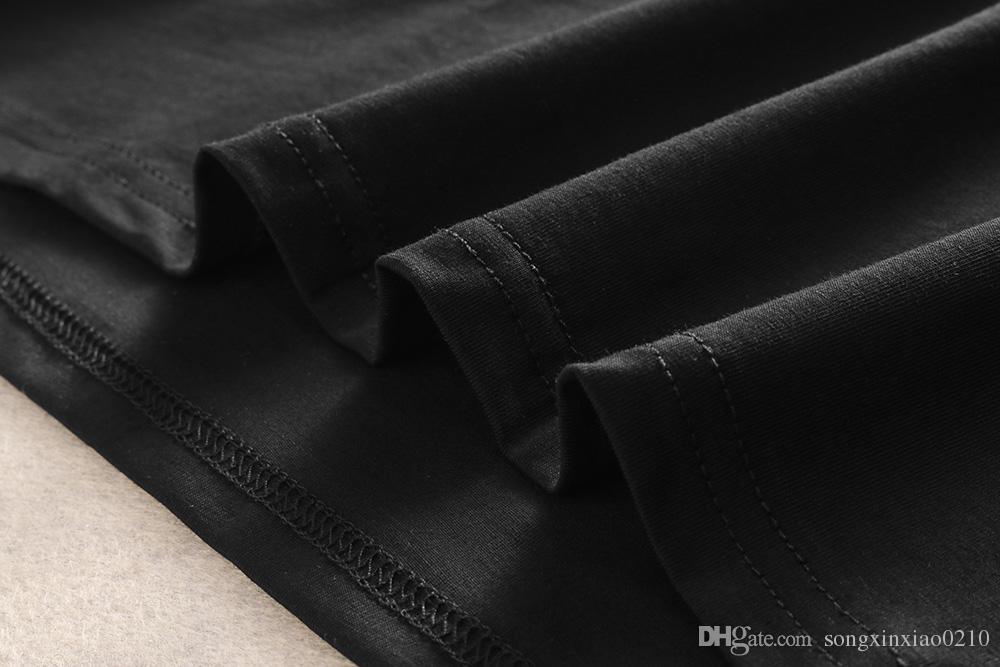 2018 новый летний Мужские футболки дизайнер бренда с коротким рукавом шею хлопок мужская пчела печати мужская футболка лучшее качество с тегами M-3XL