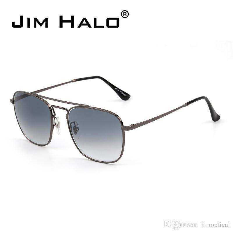 2992ca0e06 Jim Halo Classic Square Sunglasses Premium Glass Lens Flat Metal Eyewear  Men Women Fashion Eyewear Glasses Trendy Style Bifocal Sunglasses Retro  Sunglasses ...