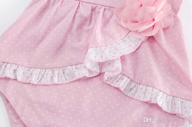 ins infant pink ploka cotton romper baby dot print Jumpsuits summer kids tutu ruffle rompers dress free ship 0-2years