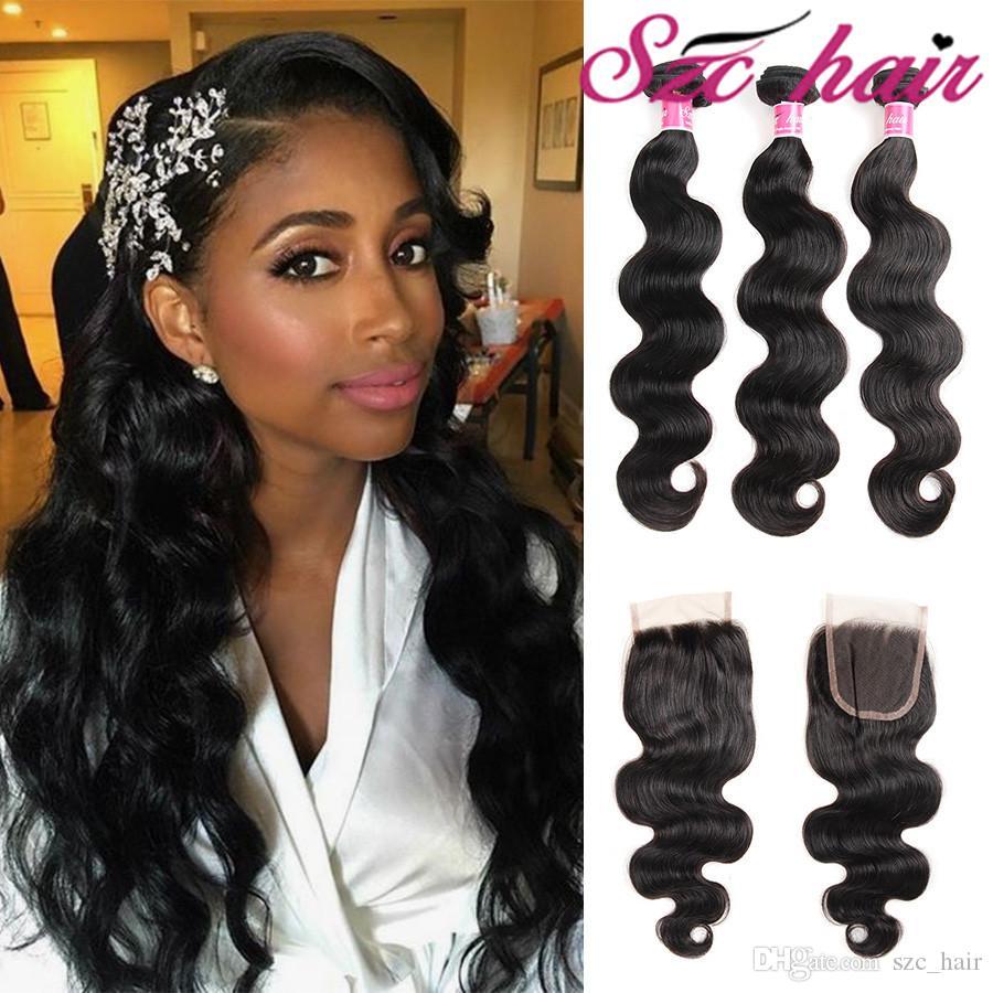 Virgin Hair Brazilian Body Wave Hair Weaves With Closure Crochet