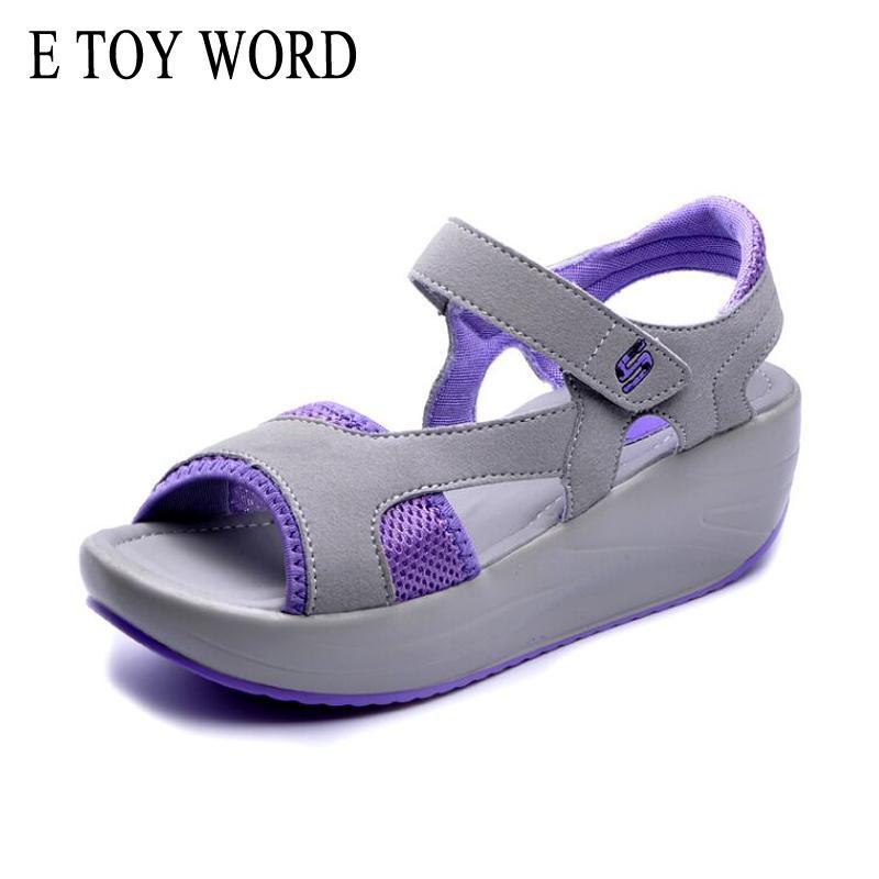 fc09c83bdc1 Cheap E TOY WORD Women s Sandals Casual Mesh Breathable Shoes Summer Woman Comfortable  Wedges Sandals Platform Size 35-40