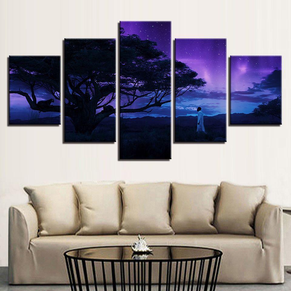 Tuval HD Baskılar Poster Duvar Sanatı 5 adet Siyah Leopar Tablolar Modüler Ağacı Özet Nightscape Resimleri Ev Dekorasyonu Çerçeve