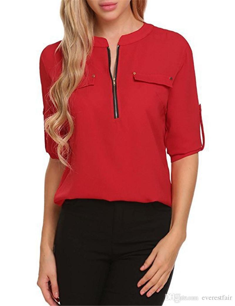 Women Fashional Chiffon Blouses Plus Size V Neck Casual Long Sleeve