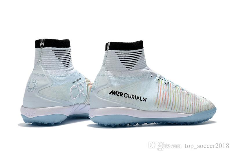 2018 Top 100% Original Blanco CR7 Tacos de fútbol Mercurial Superfly V IC / TF Zapatos de fútbol para interiores Cristiano Ronaldo botas de fútbol de calidad superior