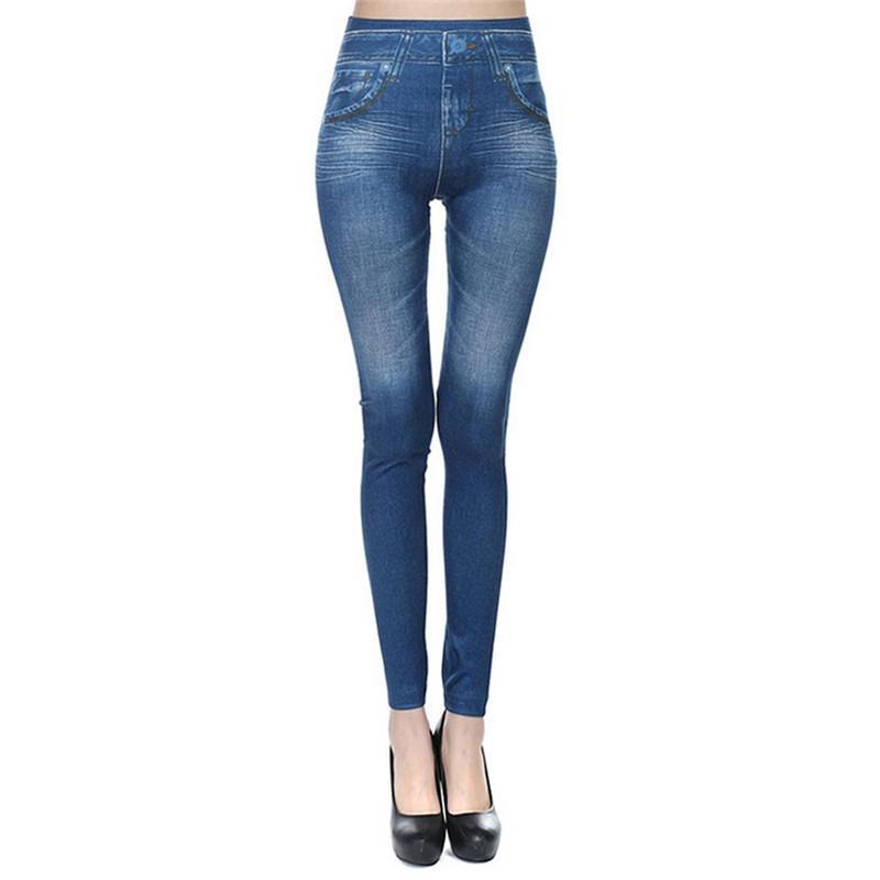 f79c5f6deb86 Cintura alta damas elásticas Jean Leggings 2018 Push Up pantalones  entrenamiento Fitness Leggins para mujer Sexy Denim Jeggings Pantalon Femme