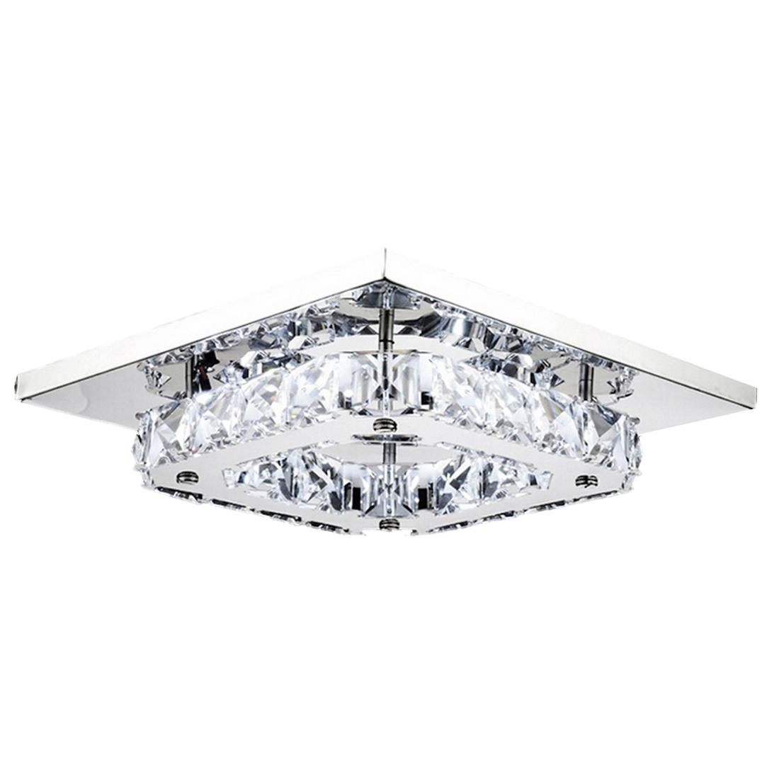 8 Led Crystal Flush Mount Modern Transpa Stainless Steel Ceiling Light Lamp With 61 01 Piece On