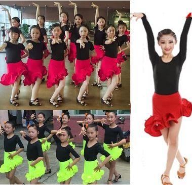 e155e0c78d72d2 2019 Ruffle Dance Skirt For Girls Children Kids Latin Dance Dress ...