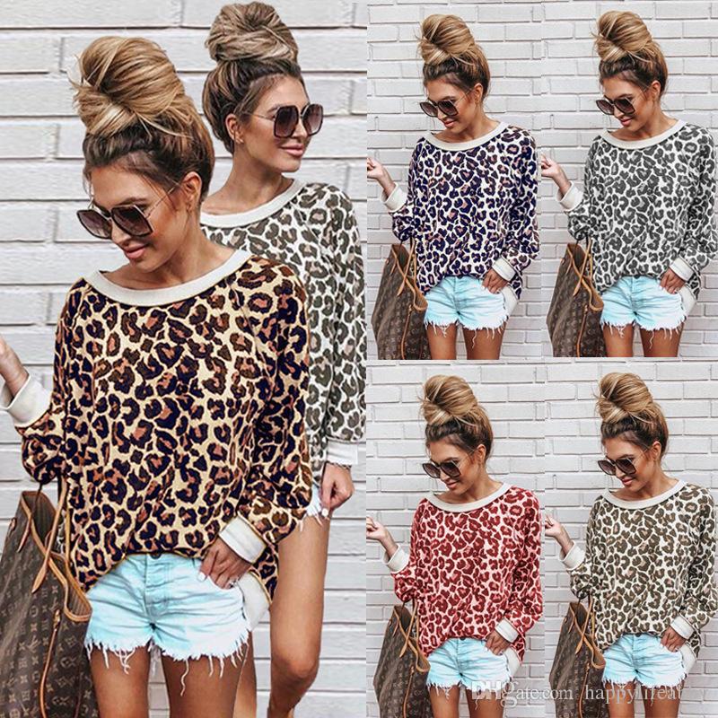 525d4d335d76a6 Women Leopard Shirts Long Sleeve O-neck Leopard Tunic New Design ...