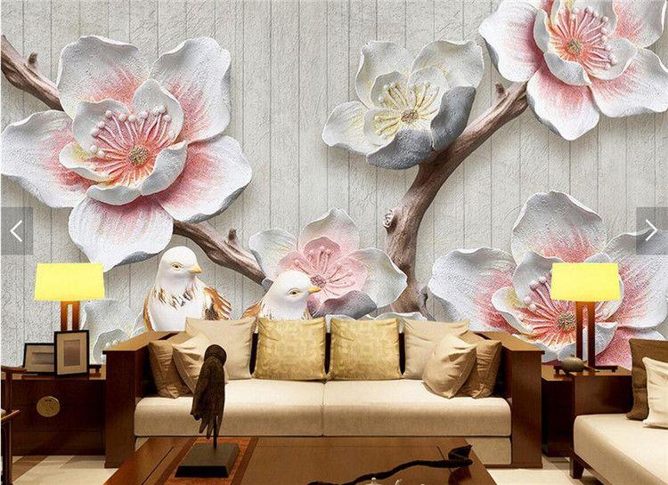 Großhandel 3D Geprägte Rosa Pflaume Blume Wandbild Wohnzimmer Home Wall  Decor Papier Peint 3D Tapeten Vintage Floral Fototapete Von Xunxun66, $18.1  ...