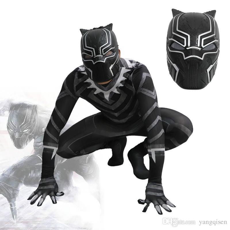 black panther costume bambino  Acquista 2018 Nuovo Film Black Panther Cosplay Onesie Costumi Di ...