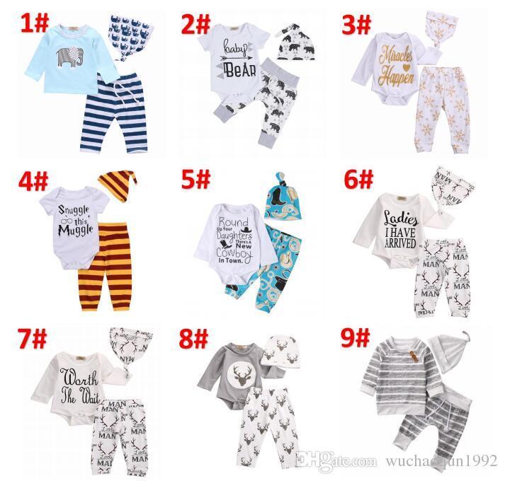 58e5b4396 2019 2018 Newborn Clothing Sets 48 Styles Girls Boy Baby Bear ...
