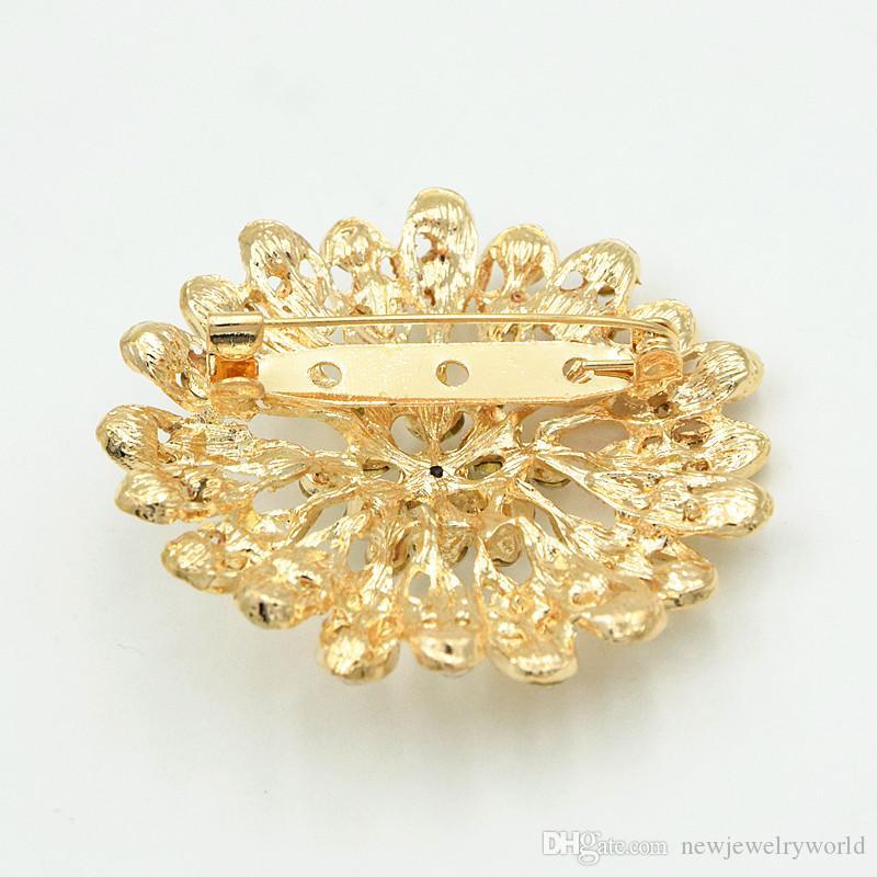 100% Good Quality Fashion Gold Tone Bright Clear Austria Crystals Sunflower Wedding Bridal Bouquet Pretty Brooch Women Dress Jewelry Pins