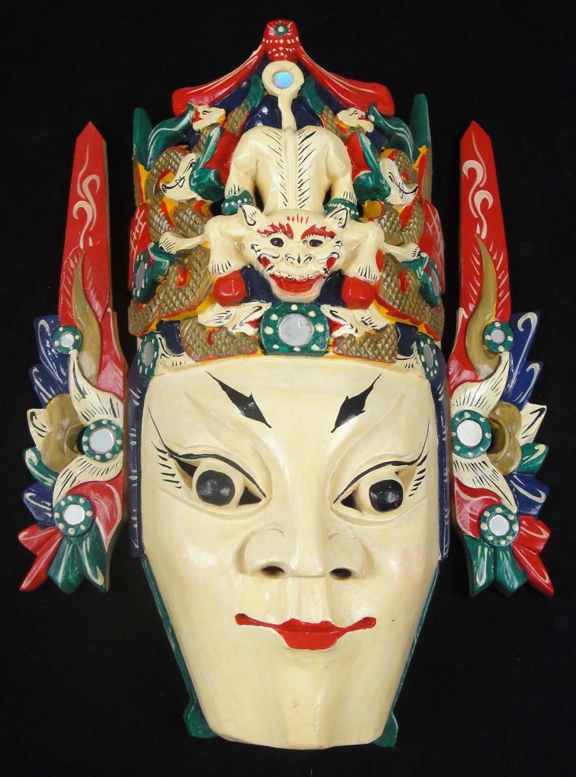2018 Chinese Drama Home Wall Décor Opera Mask 100% Wood Craft Folk ...