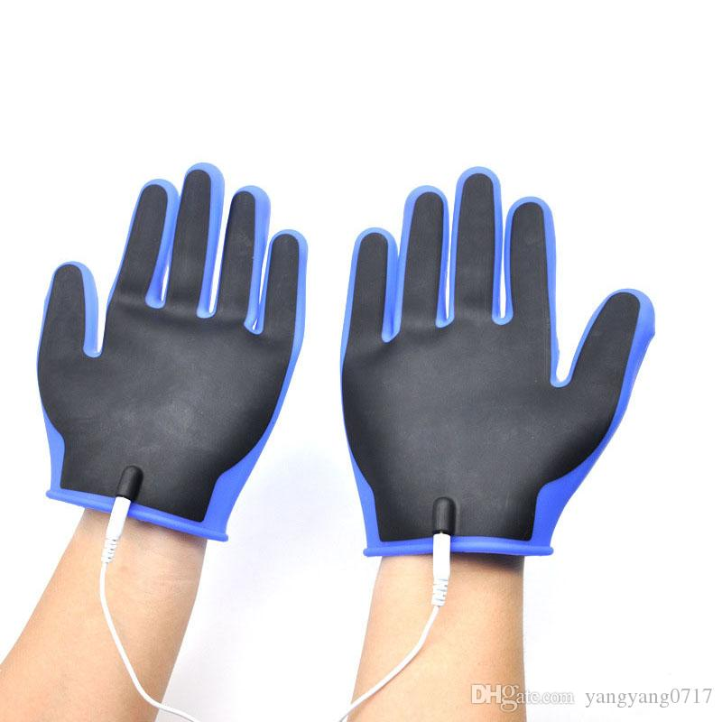 Electro Sex Silicone Gloves Penis Orgasm Stimulator Electric Shock Products, Medical Electro Shock Sex Toys for Men