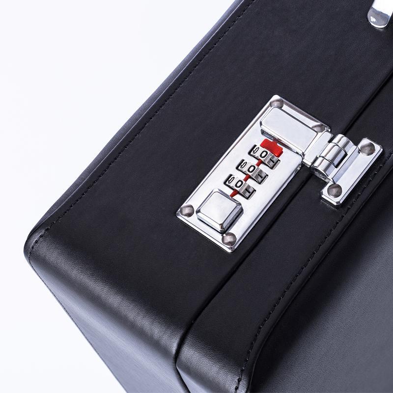 Feixueer Diseñador PU Maletín de negocios de cuero Maletín para computadora portátil de moda para hombre Maletín de documentos Bolsos para portafolio de oficina Negro Mujeres