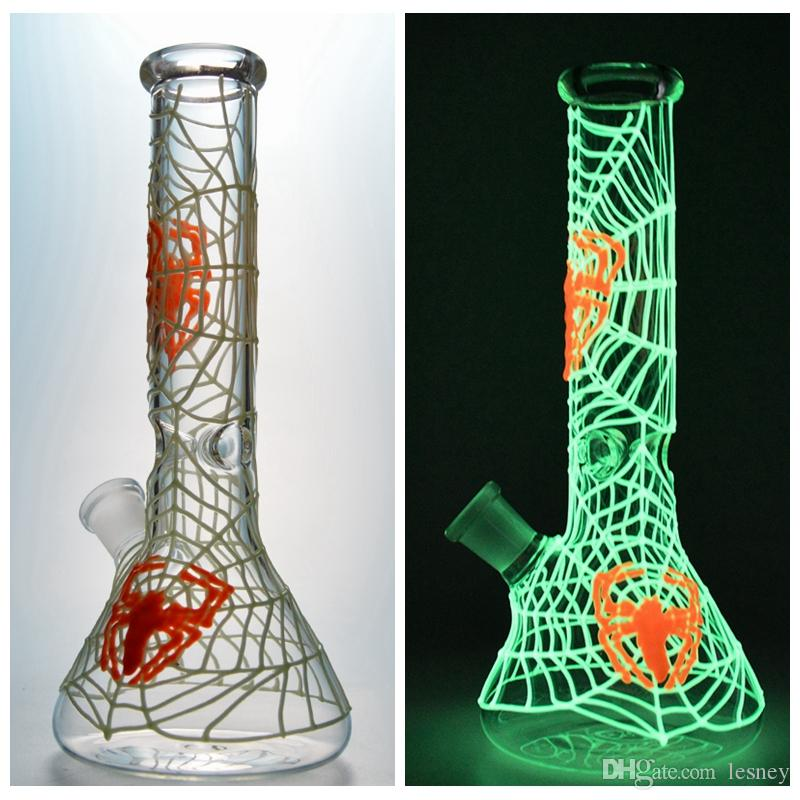 Beaker bongs tube droit truque Dab Phosphorescent Pipes Dark Water Bongs UV verre de glace Pincez Bongs plate-forme pétrolière devient incandescent GID01