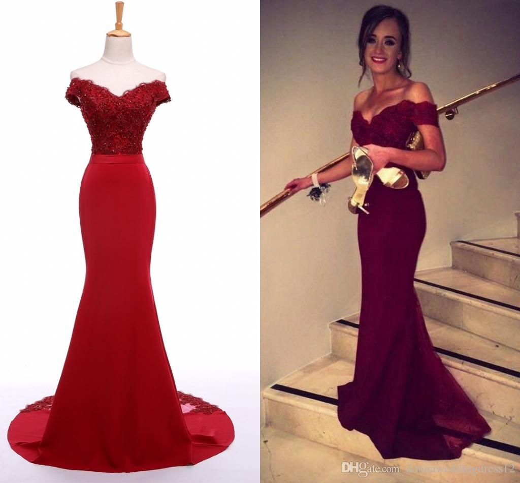 Vestido De Noiva Burgundy Appliques Lace Satin Mermaid Long Prom ... 31ab5dc6066d
