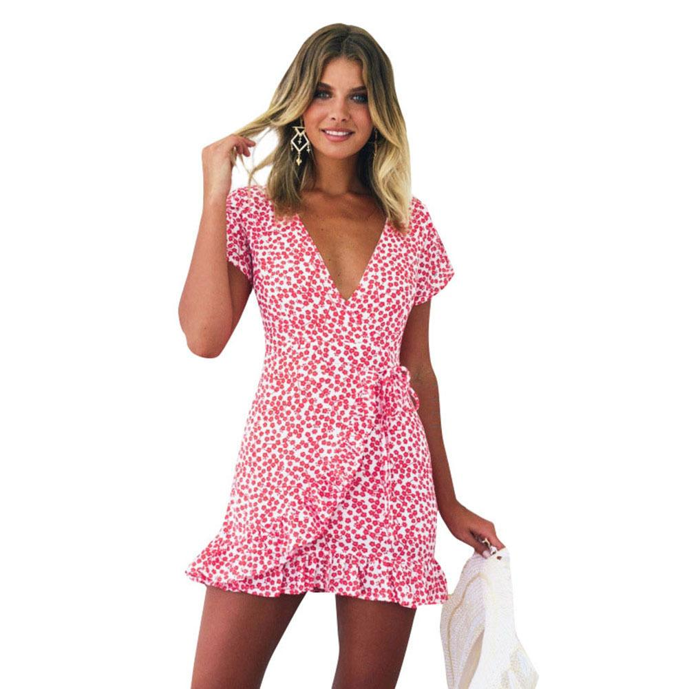 New Women Short Sleeve Wrap Dress Retro Floral Mini Dress Deep V Neck  Ruffle Summer Beach Boho Sundress Red Robes Femme 2018 Ete Long Cocktail  Dresses ... cfead0d43